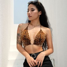 Hb7190a 2020 Leopard In Sexy Halter Crop Top Phụ Nữ Backless Bandage Lace Up Vòng Kim Loại Tank Top