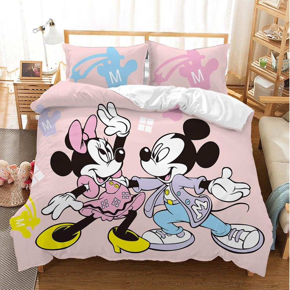 Cartoon Mickey Minnie Bedding <strong>Set</strong> Lovely Couple Queen <strong>King</strong> <strong>Size</strong> Bedding <strong>Set</strong> Children Duvet Cover Pillow Cases