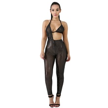 Frauen Overall Bodycon Sexy Sparkly Heißer Bohren Sheer Mesh Gestreiften Outfits Sehen Durch Dünne Hosen Romper Overalls Party <span class=keywords><strong>Cl</strong></span>