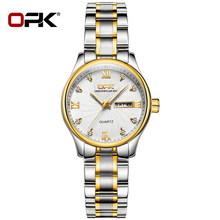 Мужские и женские модельные часы OPK, модные классические водонепроницаемые часы из нержавеющей стали с календарем и подсветкой(Китай)