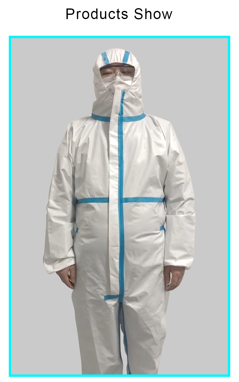 Snowwolf disposable non woven isolation gown PP+PE protection coveralls EN14126 CE type 4 - KingCare | KingCare.net