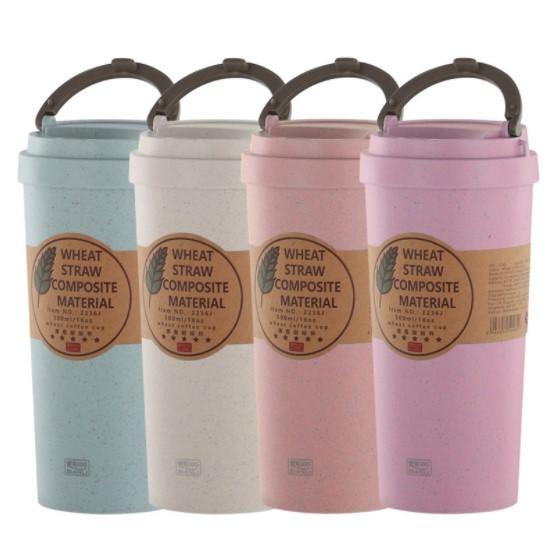 Tragbare Hohe Qualität Lager Doppel Wand Weizen Stroh Faser Kaffee Tasse