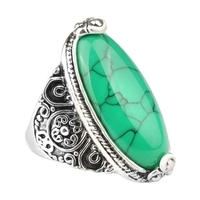 Fashion Vintage Oval Turquoise Flower Ring Women Antique Silver Jewelry