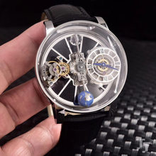 Роскошные брендовые новые японские кварцевые серебряные мужские часы, модельные европейские дизайнерские синие, черные кожаные часы с сап...(Китай)