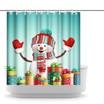 Shower Curtain Merry Christmas Snowman Gift Teal Shower Curtain Bathroom Decoration Polyester Fabric Waterproof and Mildewproof