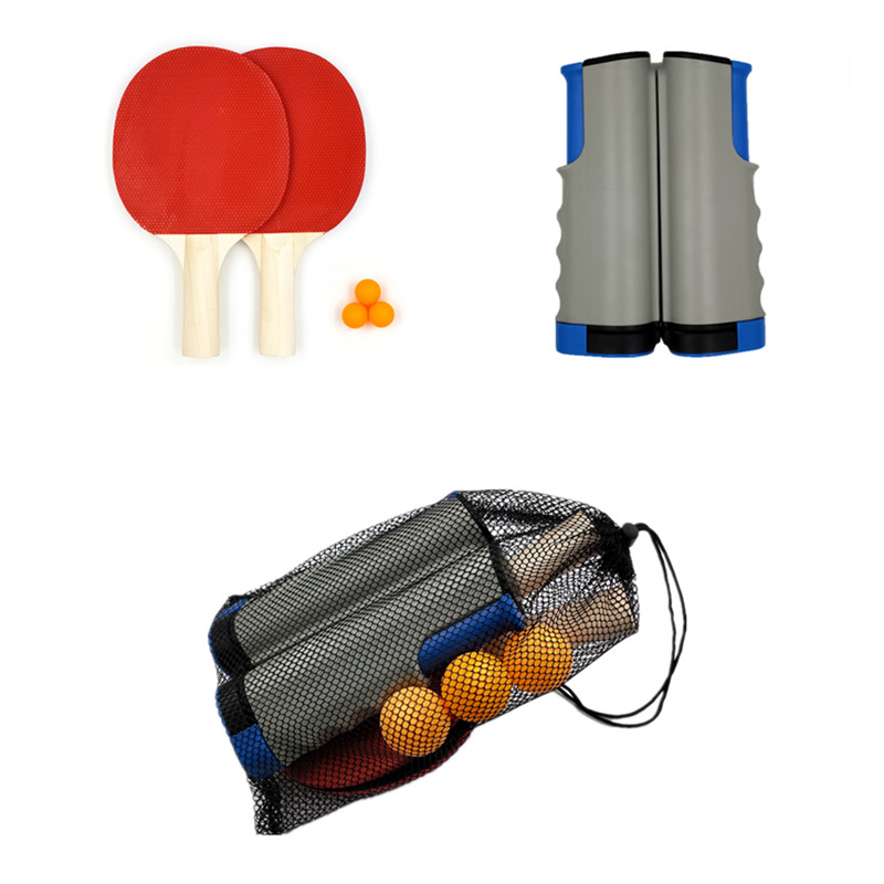 Pas cher Ping Pong pagaie Ensemble avec table escamotable filet de tennis, 2 raquettes 3 Balles de ping-pong personnalisée Raquette de Tennis de Table ensemble