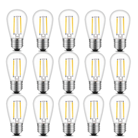 S14 Vintage LED Light Bulbs, 2W 200 Lumens 2700K SoftWarm Waterproof Bulb Great for Outdoor String Lights replacement,15 pack