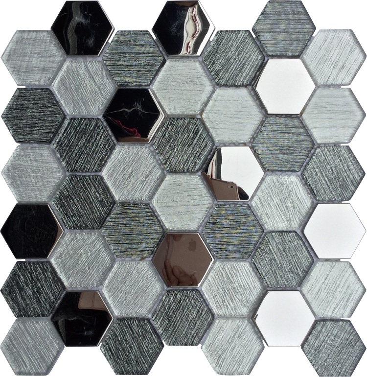 Top Selling Hexagonal Design glass mosaic Laminated and metal glass mosaic for Wall and kitchen Foshan China