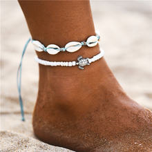 Если вы богемные морские кулоны в форме черепашек, веревка, ракушка, браслет на ногу для женщин, черепаха, ножные браслеты, Летний пляж, цепоч...(Китай)