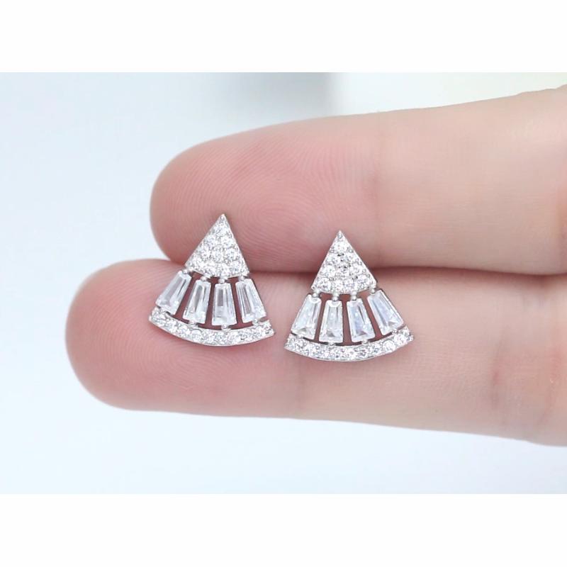 RINNTIN SE312 white zircon earrings customized jewellery 925 sterling silver fashion initial earrings for women