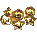 2020 Creative Christmas Tree Decor Ornaments Xmas Party Christmas Decoration Indoor Lighted Wooden Pendant