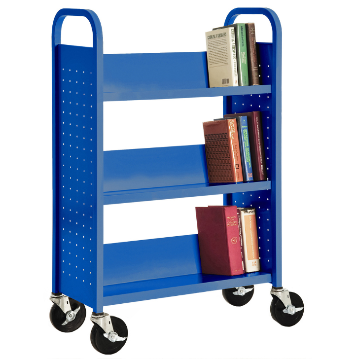 Library Double Sided Book Trolley Mobile Steel Book Cart For Sale