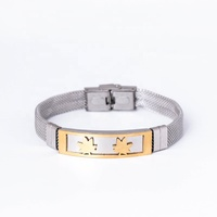 2020 Christmas New fashion Maple Leaves Pattern Watch Band Stainless Steel bangle Bracelet jewelry