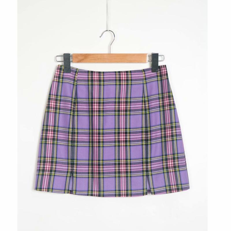 En gros belle mode mélangé 2 couleurs femmes dernière conception serré plaid mini jupes