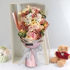 The best factory hot sales roses artificial silk bouquet of flowers wedding