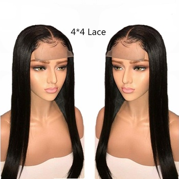 130% 150% 180% Wholesale 4x4 Lace Closure Wig Vendors, 100%Aligned Cuticle Wig 4x4 Closure Natural Straight Human Hair Wigs