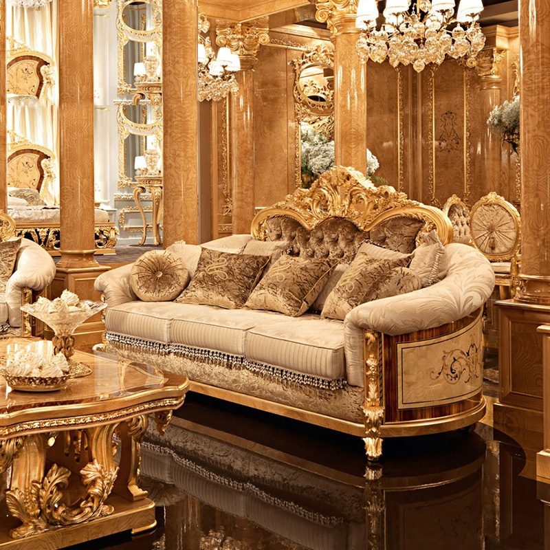 European Style Luxury Hand Carved Sofa Set Antique Royal Sectional Wooden Sofas Classic Living Room Furniture
