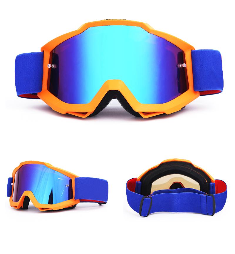 Nieuwste hoge kwaliteit TPU materiaal motocross sport eyewear Masker googles Spiegel lens motorfiets bril anti fog goggle motorfiets