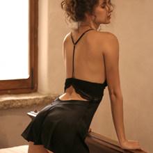 Женская кружевная ночная рубашка, Летняя шелковая ночная рубашка с вырезом, сексуальное женское белье(Китай)