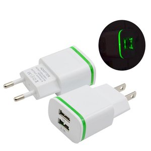 High Quality Phone USB Charger EU/US Plug 2.1A Wall Charger Dual Ports 2 USB LED Light Fast Charging USB Adapter
