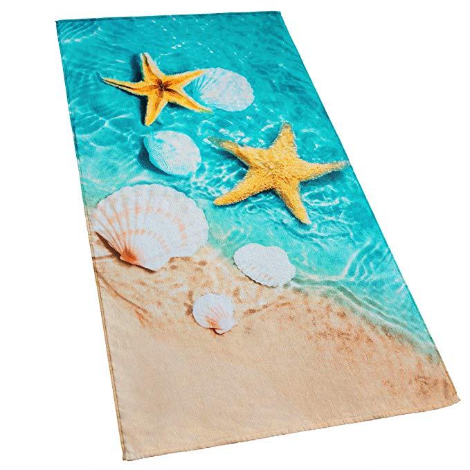 Glynniss ต่ำ MOQ ที่กำหนดเองออกแบบพิมพ์ดิจิตอลผ้าฝ้าย 100% ชุดผ้าเช็ดตัวชายหาด 70x140 ซม.