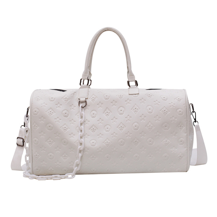 white new design fashion custom printed large ladies leather duffle travel bag