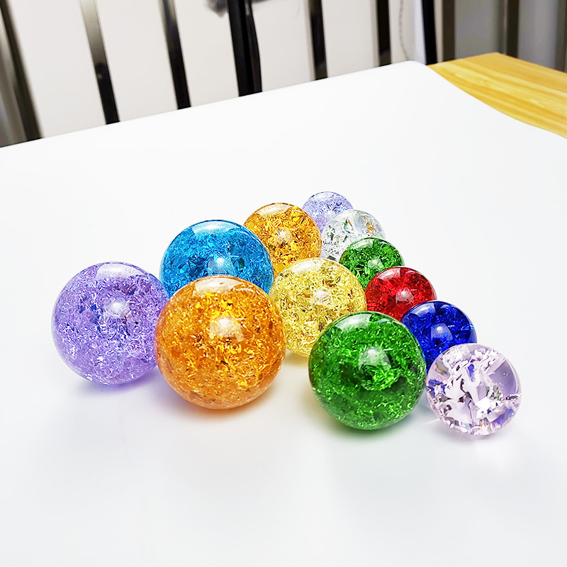 DILU Colorful Amber 60mm 80mm K9 Crystal Ball Ice Crack Balls /K9 Solid Yellow Crystal Ball /Clear Glass Sphere Crystal Ball