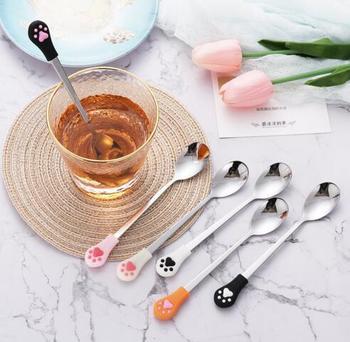 Tea Drink Kitchen Coffee Spoon Stainless Steel Fruit Flatware Cute Cat Claw
