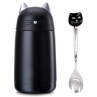 11oz Cute Cat Thermos Stainless Steel Mini Cartoon Water Bottle Travel Coffee Mug with Brush and Spoon Set