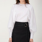Autumn cotton lantern sleeve round neck white top blouse