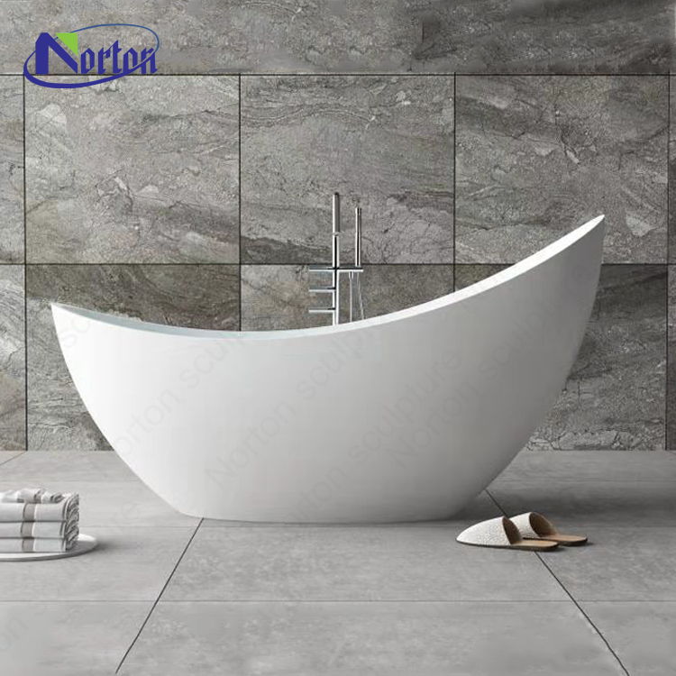 Gold supplier promotion freestanding luxury bathroom white stone artificial marble bathtub price