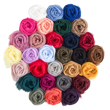 Factory Direct Cotton And Linen Solid Color Crinkle Short Beard Muslim Cotton Scarf Hijab