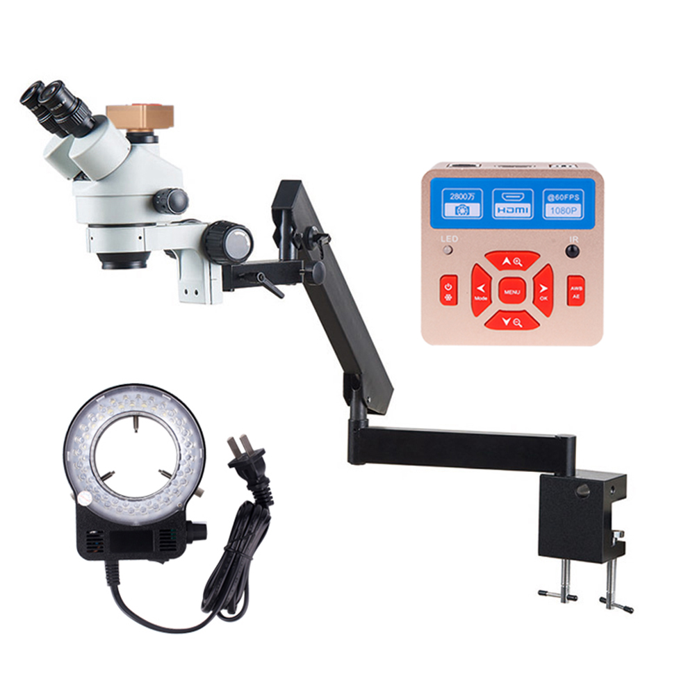 Support universel Flexible de Bras Pince de Fixation Microscope 7X-45X Zoom Trinoculaire Microscope Stéréo avec Appareil Photo Numérique et LED lumière
