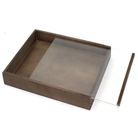 Natural Wooden Colored Storage Box with Clear Slide Top