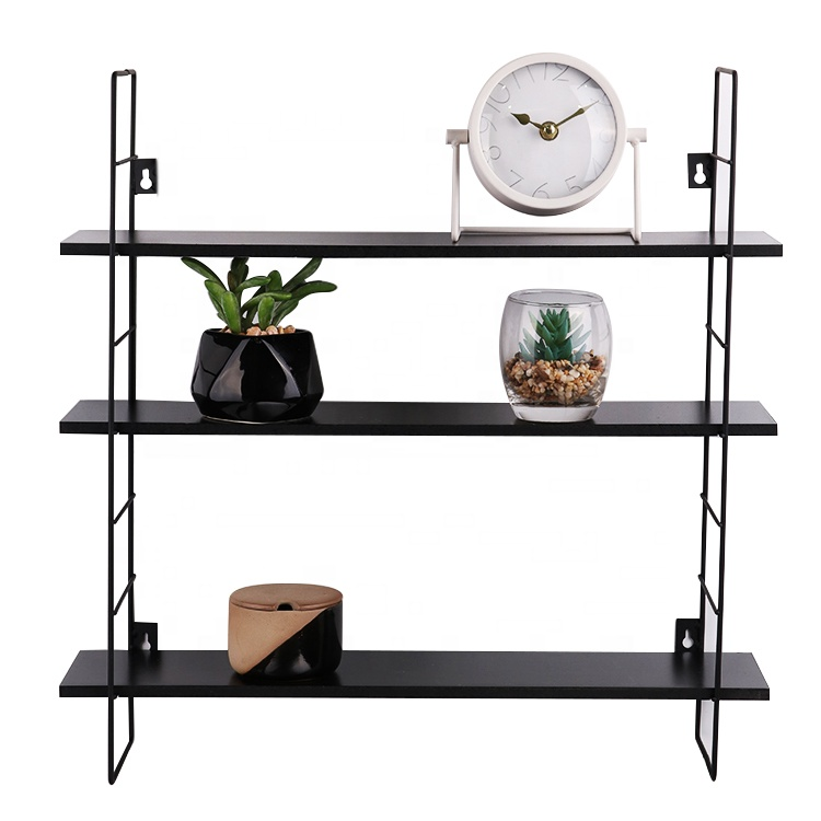 wholesale high quality removable folding stock iron metal MDF hanging wooden decorative wall <strong>shelf</strong>