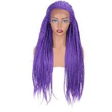 Elegant MUSES Синтетические волосы на кружеве Парики Темно-коричневый длинный парик с квадратными косичками фиолетовый бесклеевой Плетеный для ...(Китай)