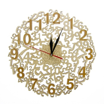 Laser Cut Large Numbers Wooden Wall Clock Wood Wall Art Modern Rustic Timepiece Home Decor Silent Wall Clock Hanging Time Watch