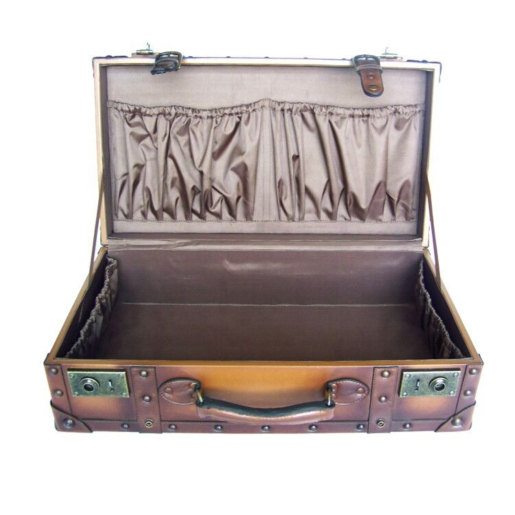 High Quality PU Suitcase Wooden Frame classical Vintage suitcase