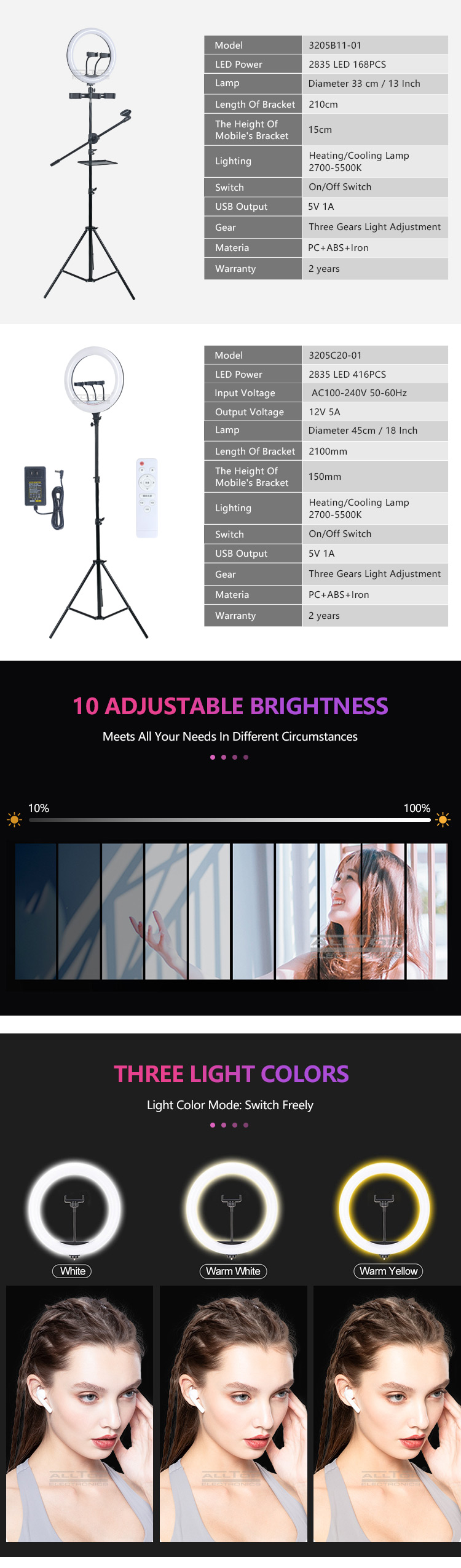 ALLTOP Dimmable Camera Led Ringlight for Makeup Video Live Studio Photography Selfie Ring Light