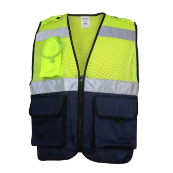 Fluorescent high quality yellow blue Reflective Tape work vest with Zipper and Pocket