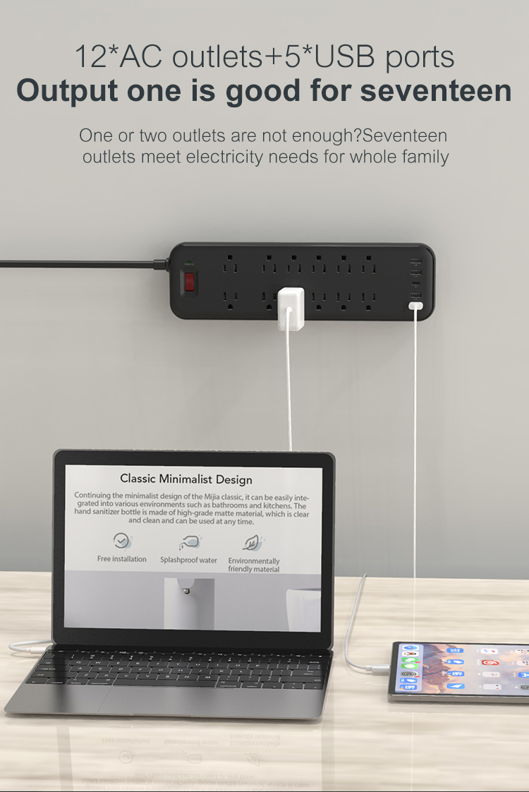 OEM ODM Portable Design Electric Plug Surge Protection Power Strip Extender Parts 12 Outlet USB Wall Sockets