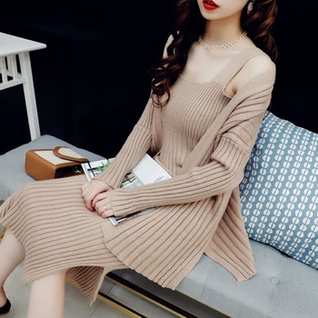New arrival casual style sexy women slim fit long dress and open front cardigan sweater set