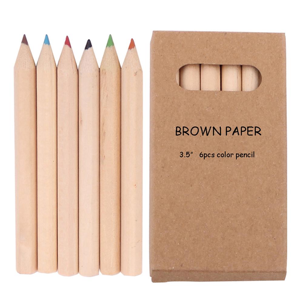 6 個子供色鉛筆 3.5 インチブラウン紙箱ペンケース子供の自然鉛筆セット子供のための