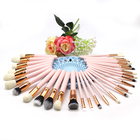 30pcs pink makeup set wood cosmetic brush 30pcs gold ferrule colorful synthetic hair Customizable private label