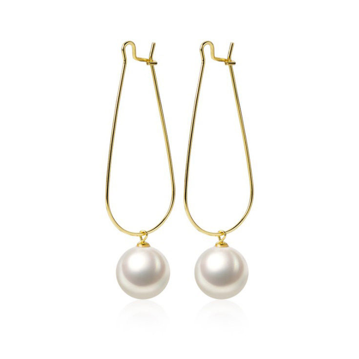 New Fashion Statement Big Pearl <strong>Drop</strong> <strong>Earring</strong> Gold Plated 925 <strong>Sterling</strong> <strong>Silver</strong> Huggie Hoop <strong>Earring</strong> Jewelry For Women