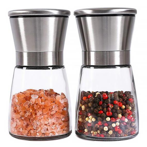Лучшее качество стеклянный мини ручная стальная соль и перец точильщика мельница для перца соль и перец мельница для перца набор