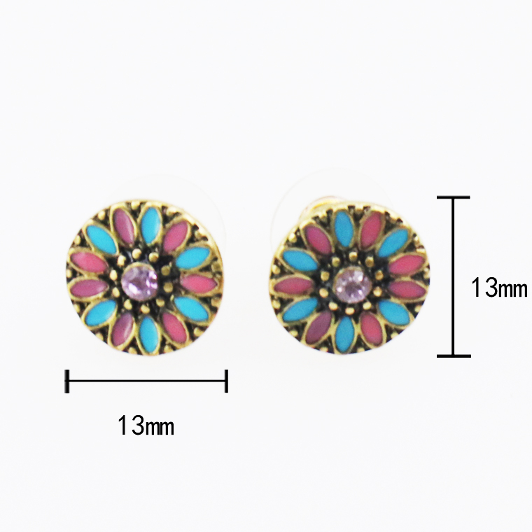 Chinese Vintage Ethnic Oil Sun Flower Stud Earrings Set with Rhinestone