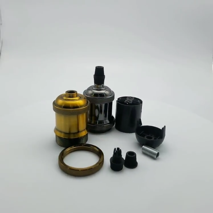 Винтажный патрон для лампы E27, винт Эдисона, металлический держатель для лампы без переключателя
