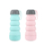 High quality telescopic folding food grade silicone water bottle 400ml with storage pill box on the bottom