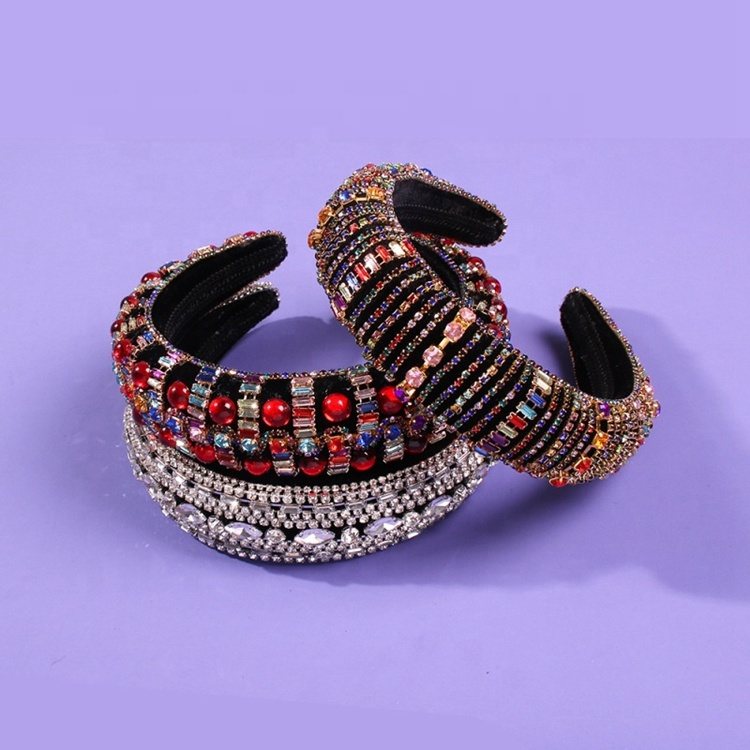 Women Luxury Bling Thick <strong>Headbands</strong> Bedazzled Padded Rhinestone <strong>Headbands</strong>